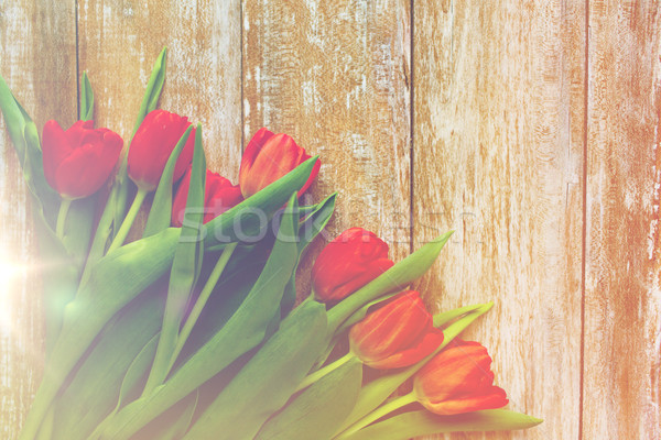 close up of red tulips on wooden background Stock photo © dolgachov