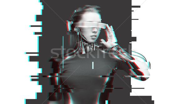 Vrouw cyborg futuristische bril mensen cyberspace Stockfoto © dolgachov