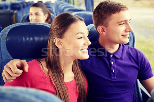 Stockfoto: Gelukkig · paar · passagiers · reizen · bus