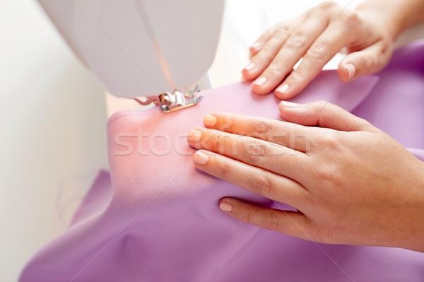 Terzi kadın dikiş makinesi kumaş insanlar dikiş Stok fotoğraf © dolgachov