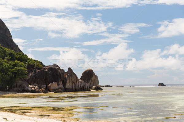 Stock photo: rocks on seychelles island beach in indian ocean