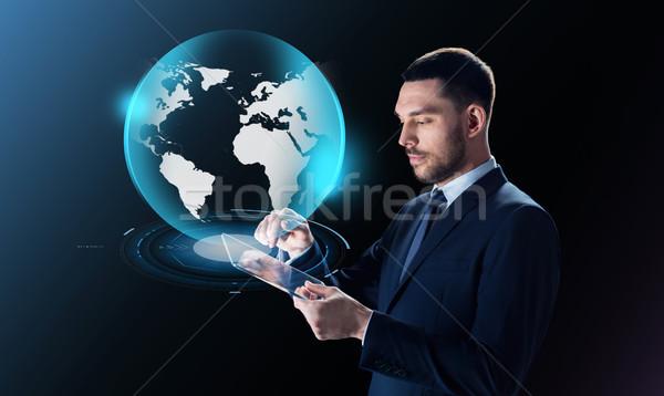ビジネスマン 地球 投影 ビジネスの方々  現代 ストックフォト © dolgachov