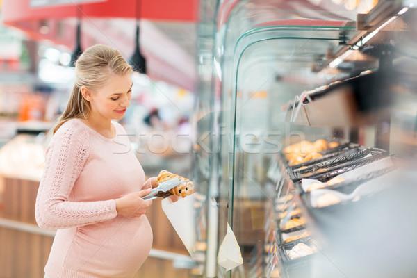 Zwangere vrouw zak kopen kruidenier winkelen voedsel Stockfoto © dolgachov