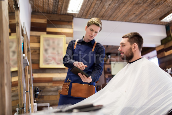 Barbier homme technologie personnes Photo stock © dolgachov