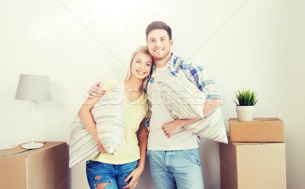 Stock fotó: Boldog · pár · mozog · új · otthon · otthon · emberek