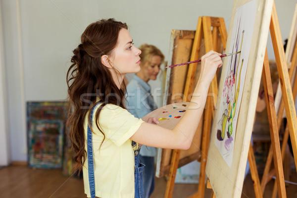 Mulher cavalete pintura arte escolas estúdio Foto stock © dolgachov