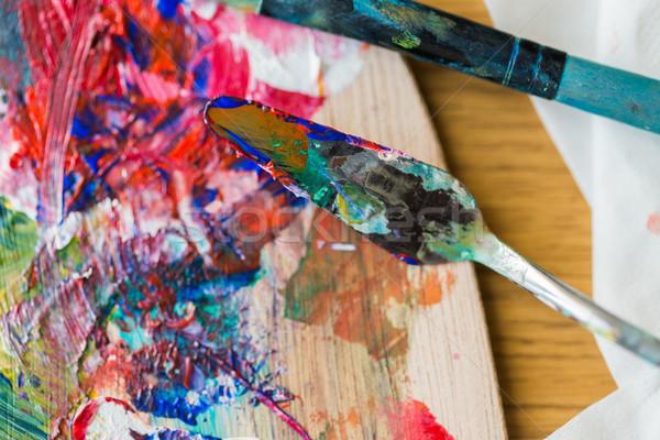 Paletta kés festmény szedőlapát ecset képzőművészet Stock fotó © dolgachov