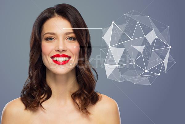 Gyönyörű nő alacsony hologram bőr szépség bőrápolás Stock fotó © dolgachov