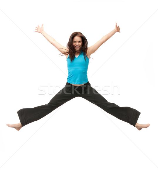 ジャンプ スポーティー 少女 明るい 画像 幸せ ストックフォト © dolgachov
