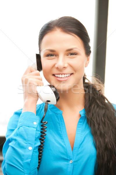 Imagine de stoc: Femeie · de · telefon · luminos · imagine · fericit · femeie · telefon