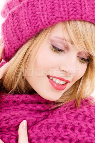 happy teenage girl in hat Stock photo © dolgachov