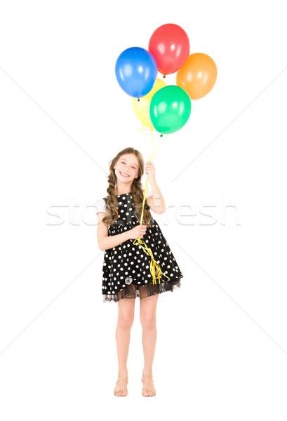 Stockfoto: Gelukkig · meisje · kleurrijk · ballonnen · witte · meisje · gelukkig