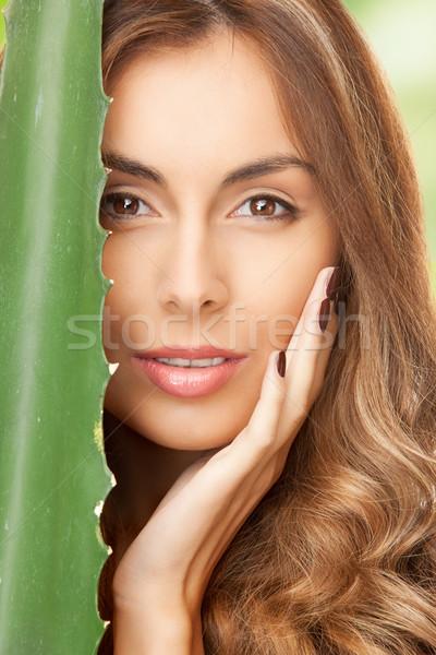 женщину алоэ фотография лице здоровья зеленый Сток-фото © dolgachov
