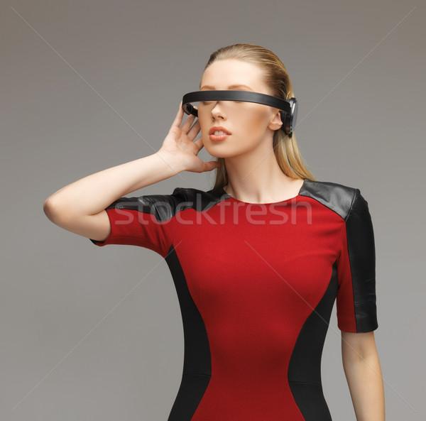 Zdjęcia stock: Kobieta · futurystyczny · okulary · zdjęcie · piękna · kobieta · robot