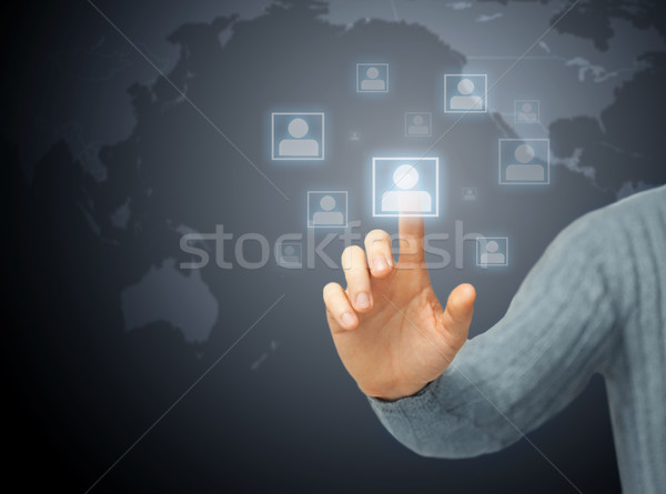 man pressing imaginary button Stock photo © dolgachov