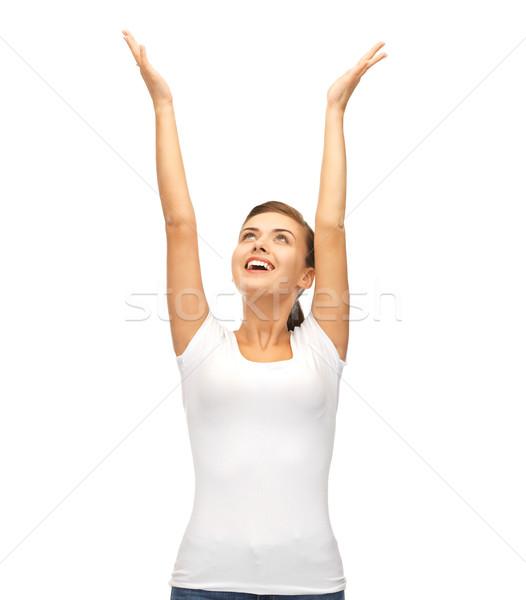 Gelukkig vrouw handen omhoog foto jonge handen Stockfoto © dolgachov