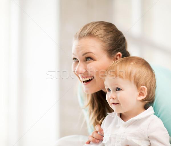 Foto stock: Feliz · mãe · adorável · bebê · quadro · família