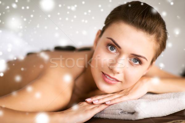 woman in spa salon with hot stones Stock photo © dolgachov