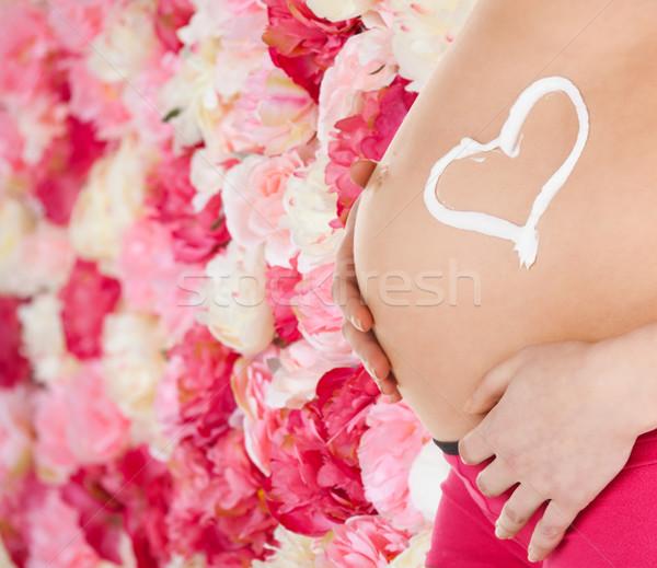 Pancia donna incinta gravidanza maternità salute crema Foto d'archivio © dolgachov