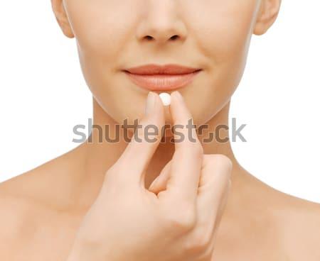 Nő tabletta egészségügy orvosi közelkép kép Stock fotó © dolgachov