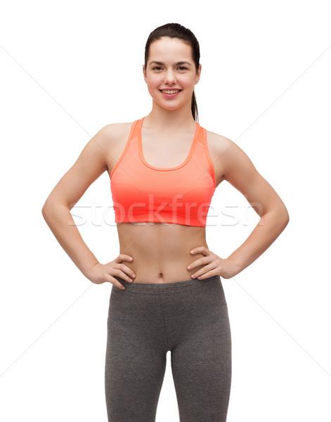 Lächelnd Sportbekleidung Fitness Ernährung Frau Stock foto © dolgachov