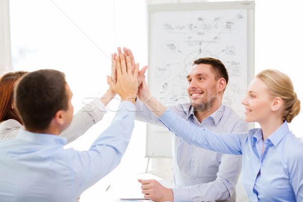 happy business team giving high five in office Stock photo © dolgachov
