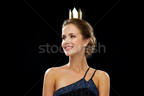 Sorrindo vestido de noite coroa pessoas férias Foto stock © dolgachov