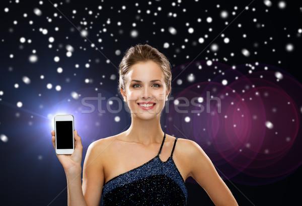笑顔の女性 イブニングドレス スマートフォン 技術 クリスマス 休日 ストックフォト © dolgachov
