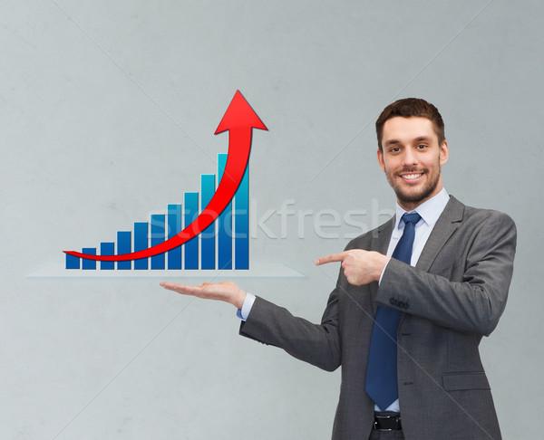 Boldog férfi mutat növekedés diagram pálma Stock fotó © dolgachov