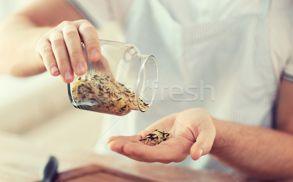 Stok fotoğraf: Erkek · kavanoz · beyaz · siyah · pirinç