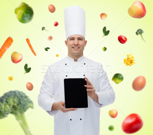 Mutlu erkek şef pişirmek Stok fotoğraf © dolgachov