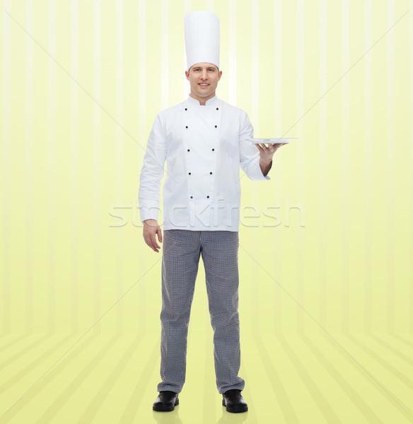 Foto stock: Feliz · masculina · chef · cocinar · vacío