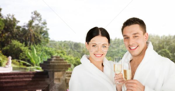 Gelukkig paar champagne resort mensen reizen Stockfoto © dolgachov
