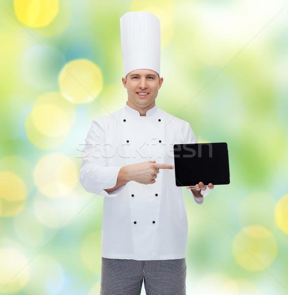 Szczęśliwy mężczyzna kucharz gotować Zdjęcia stock © dolgachov