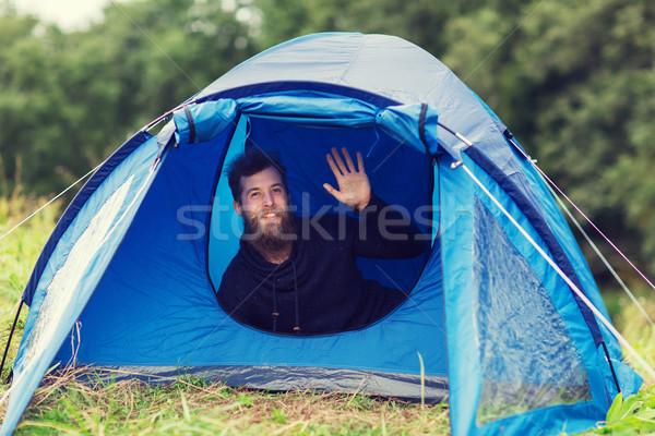 Gülen erkek turist sakal çadır kamp Stok fotoğraf © dolgachov