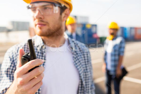 Construtor capacete de segurança indústria edifício Foto stock © dolgachov