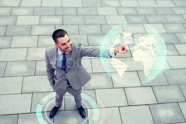 Souriant affaires monde projection extérieur commerce mondial Photo stock © dolgachov