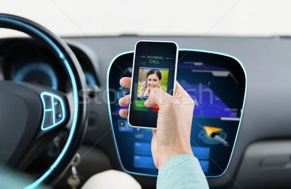 close up of man with call on smartphone in car Stock photo © dolgachov