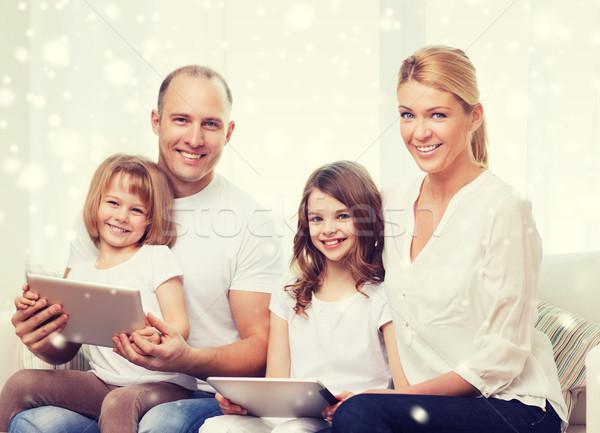 Stockfoto: Gelukkig · gezin · computers · eengezinswoning · technologie · mensen