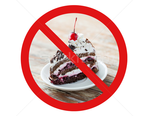 piece of cherry chocolate cake behind no symbol Stock photo © dolgachov