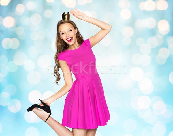 Felice teen girl rosa abito persone Foto d'archivio © dolgachov
