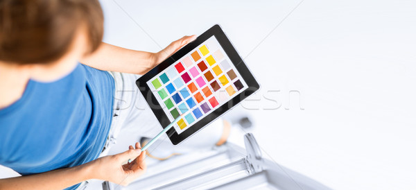 Nő dolgozik szín minták belsőépítészet rendbehoz Stock fotó © dolgachov