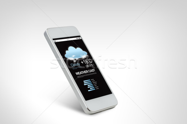 white smarthphone with weather forecast on screen Stock photo © dolgachov