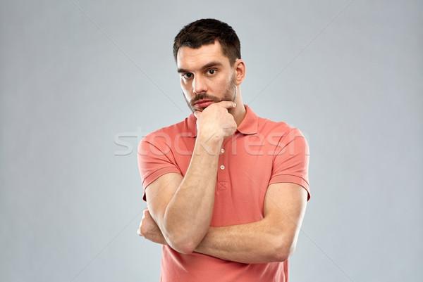 Hombre pensando gris dudar personas grave Foto stock © dolgachov