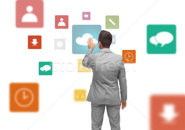 ビジネスマン バーチャル 投影 メディア アイコン ビジネスの方々 ストックフォト © dolgachov