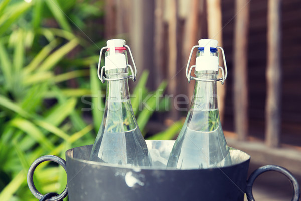 Casal água garrafas gelo balde hotel Foto stock © dolgachov