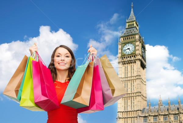 Jeunes heureux femme Big Ben personnes Photo stock © dolgachov