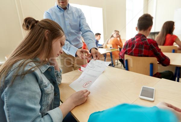 Leraar testresultaten groep studenten onderwijs middelbare school Stockfoto © dolgachov