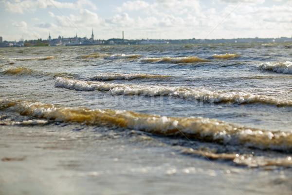 Mar báltico ondas cidade marinha paisagem Foto stock © dolgachov