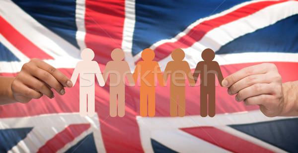 Kezek tart emberek piktogram angol zászló közösség Stock fotó © dolgachov